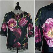 """Одежда ручной работы. Ярмарка Мастеров - ручная работа Блузка """"Тюльпаны"""" с кружевом Шантильи. Handmade."""