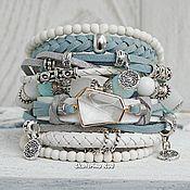 Украшения handmade. Livemaster - original item Blue and white BOHO-chic bracelet with Blue Lakes crystal
