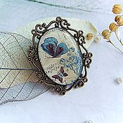 Украшения handmade. Livemaster - original item Brooch Vintage Blue Butterfly Flying Air Sky. Handmade.