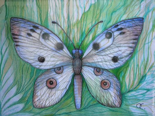 """Декоративное панно """"Бабочка"""" выполнено на натуральном шелке акриловыми красками с использованием акриловых контуров. правый угол на ст №2"""