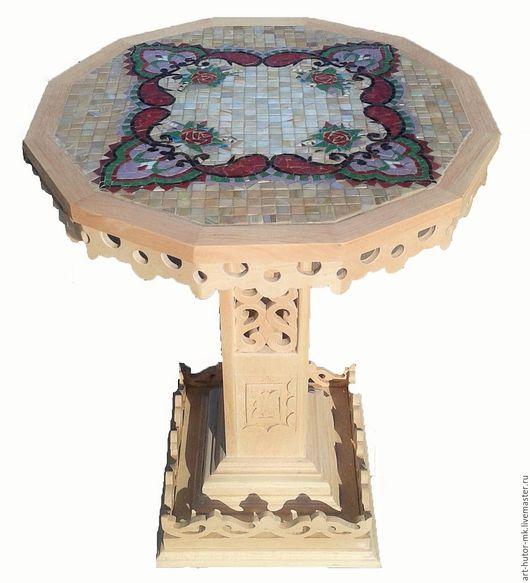 """Мебель ручной работы. Ярмарка Мастеров - ручная работа. Купить Резной стол с мозаикой """"Надюша"""". Handmade. Журнальный столик"""