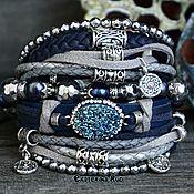 Украшения handmade. Livemaster - original item Boho-chic bracelet with blue pearls