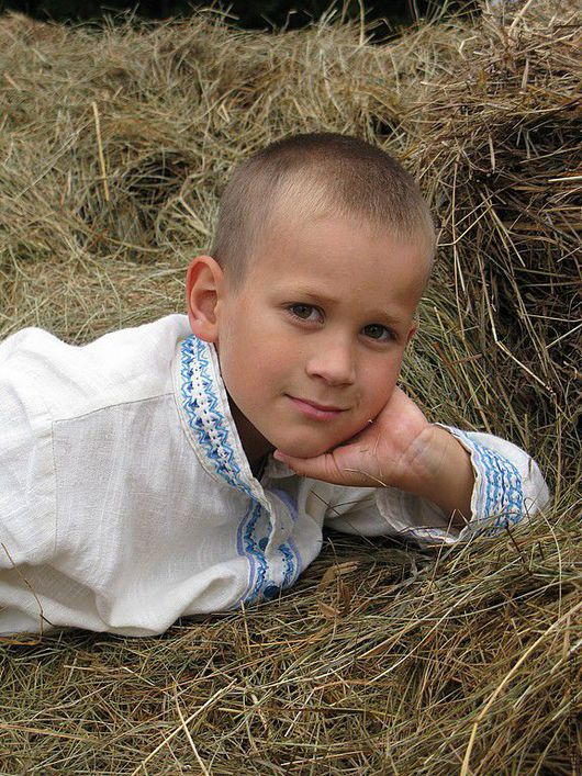Clothing handmade. Livemaster - handmade. Buy Russian costume for a boy.Blouse, blouse for boy, rural landscape