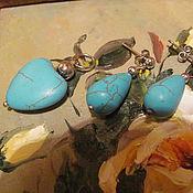 """Украшения ручной работы. Ярмарка Мастеров - ручная работа комплект """"Бирюза"""" из говлита. Handmade."""