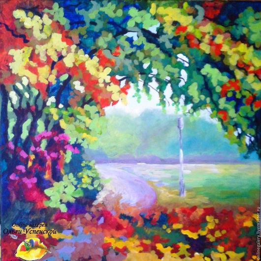 """Пейзаж ручной работы. Ярмарка Мастеров - ручная работа. Купить Картина """"Осенние краски"""" акрил 40х40см. Handmade. Картина"""