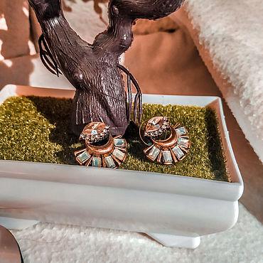 Винтаж ручной работы. Ярмарка Мастеров - ручная работа Моя коллекция украшений. Пуссеты с янтарным стеклом. Handmade.