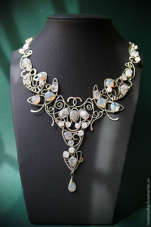 Necklaces & Beads handmade. Livemaster - handmade. Buy Necklace White Night.Fantasy, silver plated, moonstone