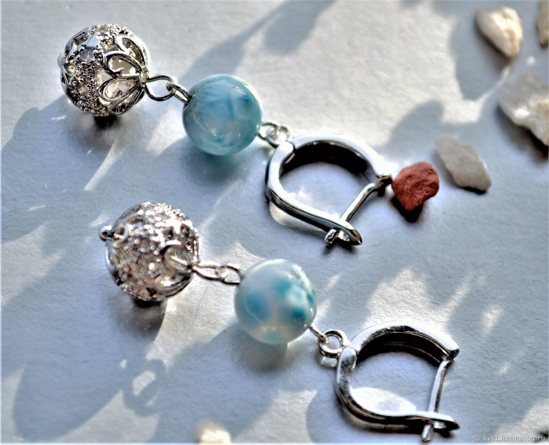 Silver bead earrings with blue larimar, Earrings, Moscow,  Фото №1