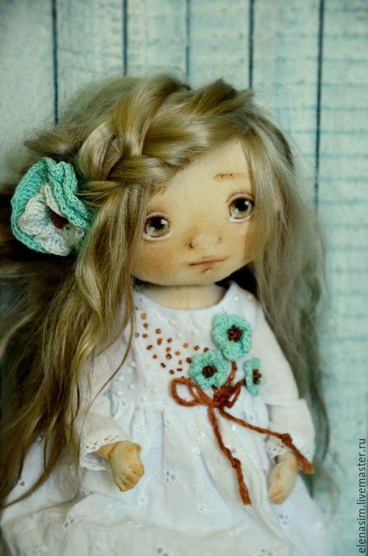 Коллекционные куклы ручной работы. Ярмарка Мастеров - ручная работа. Купить Кареглазка. Handmade. Белый, выкройка, Вязание крючком, тонировка