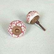 Для дома и интерьера ручной работы. Ярмарка Мастеров - ручная работа Расписные ручки для мебели с красным орнаментом. Handmade.