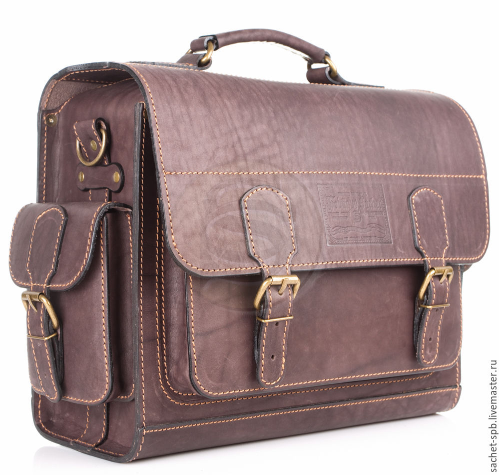 Leather briefcase Voyager brown, Brief case, St. Petersburg,  Фото №1