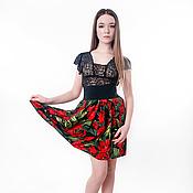 """Одежда ручной работы. Ярмарка Мастеров - ручная работа Юбка """"Красные тюльпаны"""" из хлопка на широкой резинке, очень стильная. Handmade."""