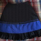 Одежда ручной работы. Ярмарка Мастеров - ручная работа Черная юбка из хлопка со вставкой из синей сетки. Handmade.
