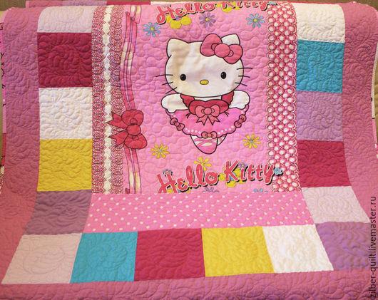 Пледы и одеяла ручной работы. Ярмарка Мастеров - ручная работа. Купить Одеяло для девочки Hello Kitty , пэчворк. Handmade. Розовый