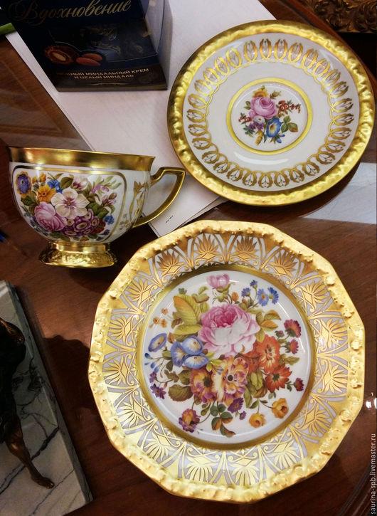 Сервизы, чайные пары ручной работы. Ярмарка Мастеров - ручная работа. Купить чайная чашка + блюдце + тарелка. Handmade.