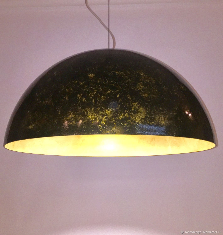 Светильники HEMISPHERE lamp , купол черный с золотой патиной  700мм, Потолочные и подвесные светильники, Санкт-Петербург,  Фото №1