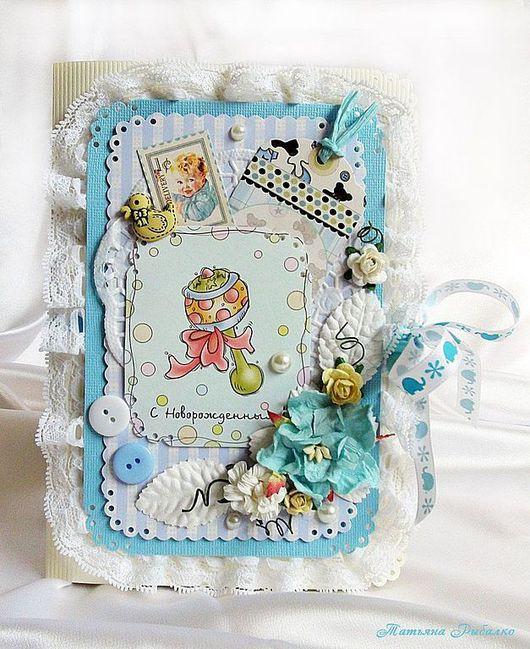 """Детские открытки ручной работы. Ярмарка Мастеров - ручная работа. Купить Открытка ручной работы """"С новорожденным"""". Handmade. Голубой"""