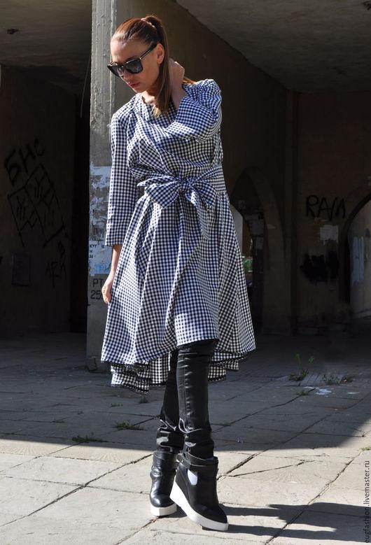 Платье в клеточку. Платье с поясом. Свободное платье. Купить платье. Платье. Ручная работа. Ярмарка Мастеров.