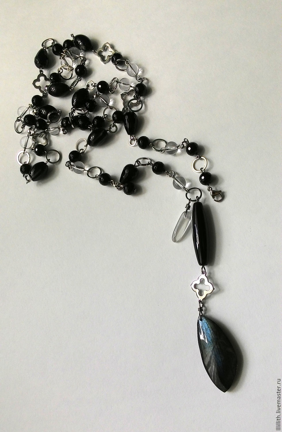 With pendant with black agate, rock crystal and Labrador, Necklace, Moscow,  Фото №1