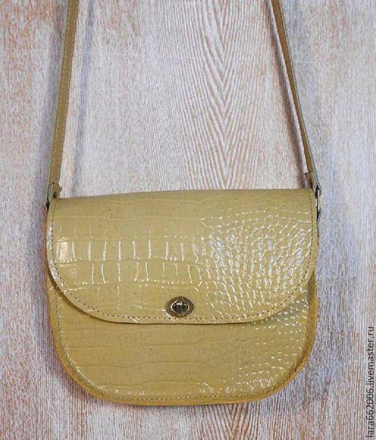 Маленькая сумка `Стильная` из итальянской натуральной кожи, сумочка для прогулок,сумочка на лето, маленькая женская сумочка, сумка из кожи, кожаная сумочка, подарок, купить сумку, бежевая сумка,