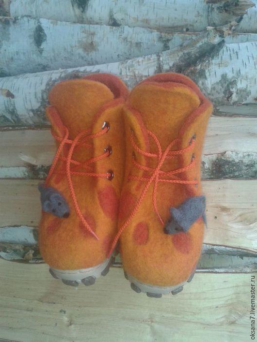 """Детская обувь ручной работы. Ярмарка Мастеров - ручная работа. Купить Ботинки валяные """" Сырные"""". Handmade. Оранжевый, валенки"""