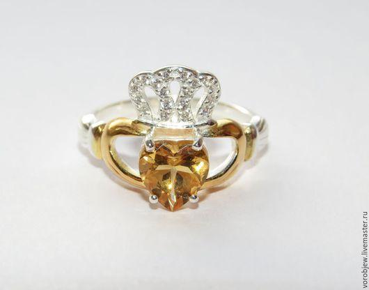 """Кольца ручной работы. Ярмарка Мастеров - ручная работа. Купить """"Кладдахское кольцо"""" серебро 925 пробы Цитрин. Handmade. серебряный"""