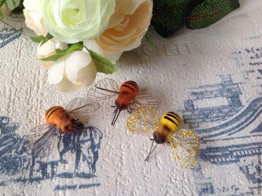 Материалы для флористики ручной работы. Ярмарка Мастеров - ручная работа. Купить Пчелки декоративные. Handmade. Разноцветный, пчелы, ткань