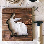 Картины и панно handmade. Livemaster - original item Hare wooden housekeeper panel. Handmade.