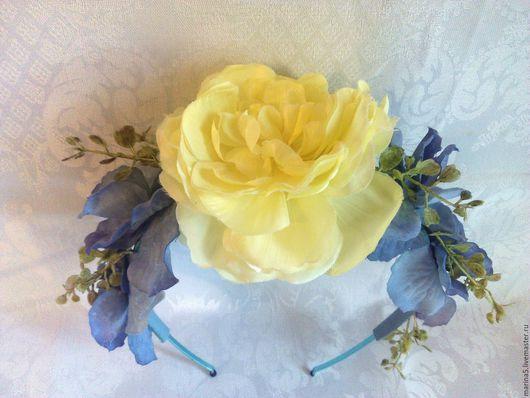 Диадемы, обручи ручной работы. Ярмарка Мастеров - ручная работа. Купить Ободок с цветами. Handmade. Голубой, украшение, подарок на новый год
