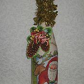 """Подарки к праздникам ручной работы. Ярмарка Мастеров - ручная работа Декор бутылки """"Новогодняя"""". Handmade."""