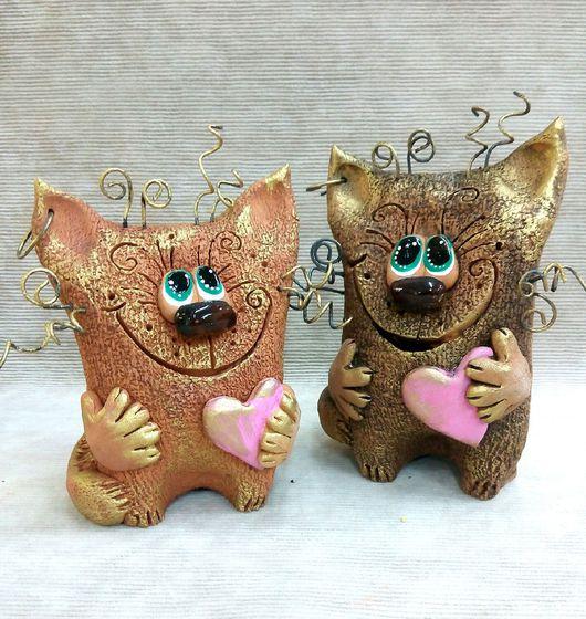Игрушки животные, ручной работы. Ярмарка Мастеров - ручная работа. Купить Влюбленный кот. Handmade. Коричневый, любовь позитив счастье
