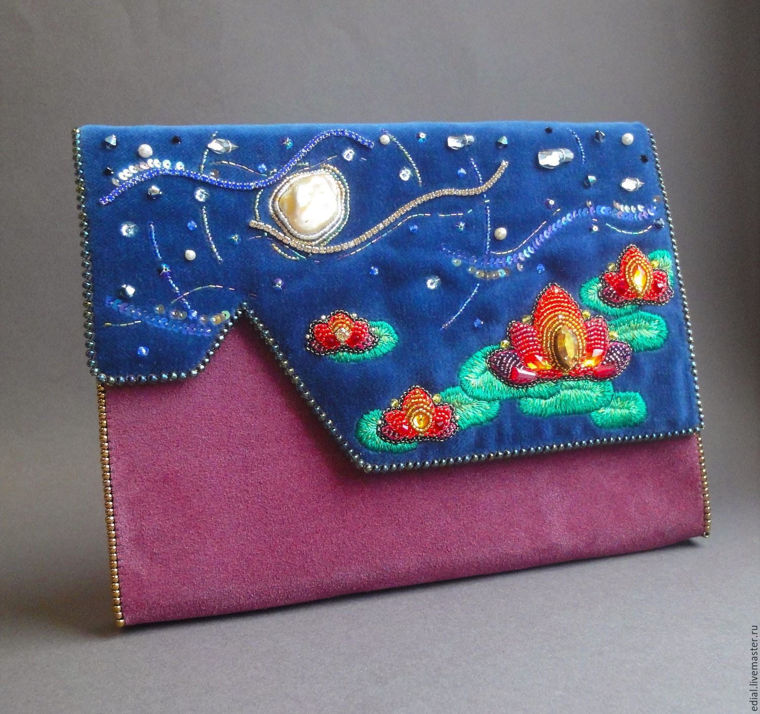 Clutch bag NIGHT FIRE LOTUS velvet, beads, pearls, swarovski, Clutches, Moscow,  Фото №1