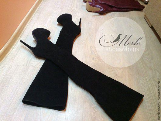 Обувь ручной работы. Ярмарка Мастеров - ручная работа. Купить Ботфорты черный замш 15 см. Handmade. Ярко-красный