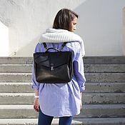 Сумки и аксессуары ручной работы. Ярмарка Мастеров - ручная работа Кожаный рюкзак-портфель Black. Handmade.