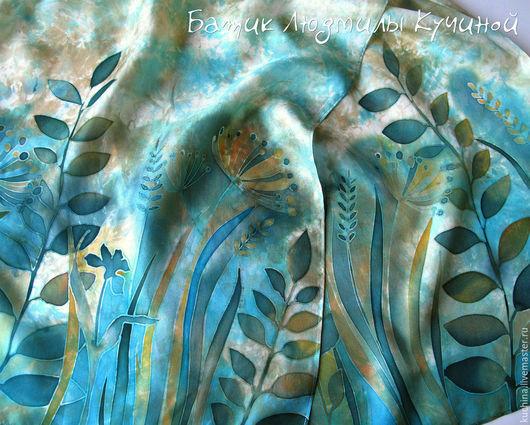 """Шарфы и шарфики ручной работы. Ярмарка Мастеров - ручная работа. Купить батик шарф """"Русалочьи травы"""" шелк. Handmade."""