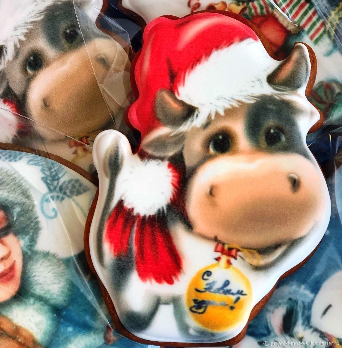 Бык новогодний - символ 2021 года быка, новогодний пряник с бычком, Год Быка, Москва,  Фото №1