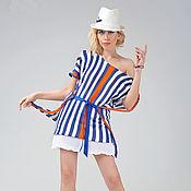 Одежда handmade. Livemaster - original item MG_010 Tunic striped blue-white-orange with