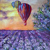 Картины и панно handmade. Livemaster - original item Painting, oil/hardboard Over the lavender field. Handmade.