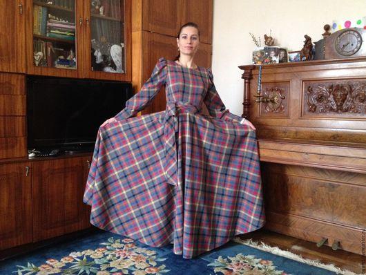 Платья ручной работы. Ярмарка Мастеров - ручная работа. Купить Платье длинное в клетку (шотландка). Handmade. Платье теплое