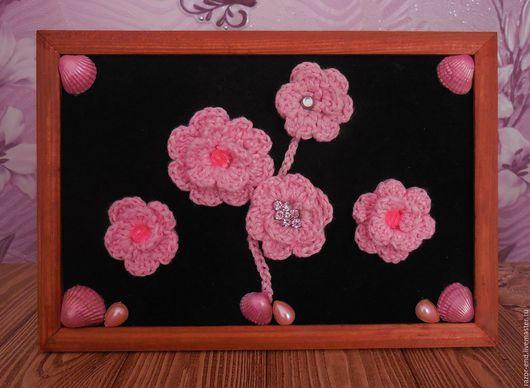 """Картины цветов ручной работы. Ярмарка Мастеров - ручная работа. Купить Панно """"Roseate"""". Handmade. Комбинированный, панно настенное"""