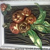 Картины и панно ручной работы. Ярмарка Мастеров - ручная работа картина из натуральной кожи  розы. Handmade.