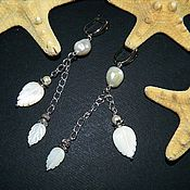 Украшения handmade. Livemaster - original item Long earrings of carved mother of pearl leaves and pearls.. Handmade.