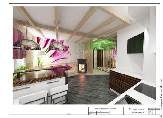 Дизайн интерьеров ручной работы. Ярмарка Мастеров - ручная работа. Купить Кухня-гостиная. Handmade. Фиолетовый, дизайн интерьера, таунхаус