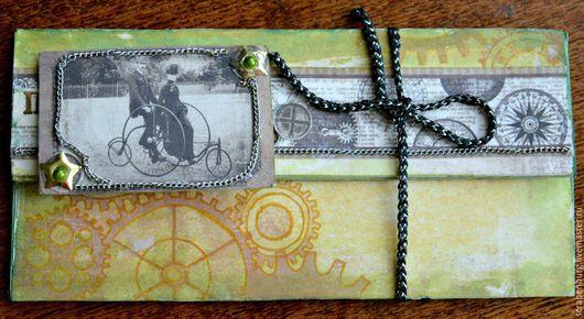 Конверты для денег ручной работы. Ярмарка Мастеров - ручная работа. Купить Мужской конверт для денег в стиле стимпанк. Handmade. Хаки