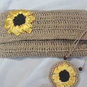 Сумки и аксессуары handmade. Livemaster - original item Clutch knitted Sunflower. Handmade.