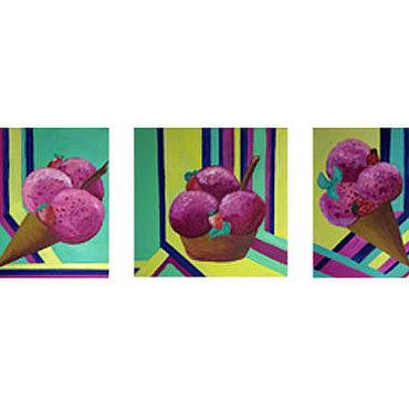 Картины и панно ручной работы. Ярмарка Мастеров - ручная работа Триптих Мороженки. Handmade.