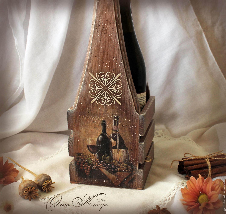 Короб для вина декупаж фото