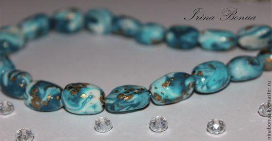 """Колье, бусы ручной работы. Ярмарка Мастеров - ручная работа. Купить Бусы """"Море"""". Handmade. Голубой, имитация камня"""