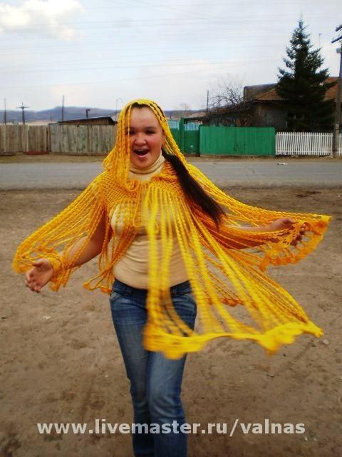 """Верхняя одежда ручной работы. Ярмарка Мастеров - ручная работа. Купить Кардиган""""Жёлтый дождь""""/ Авт. работа.. Handmade. Вязаное пончо"""