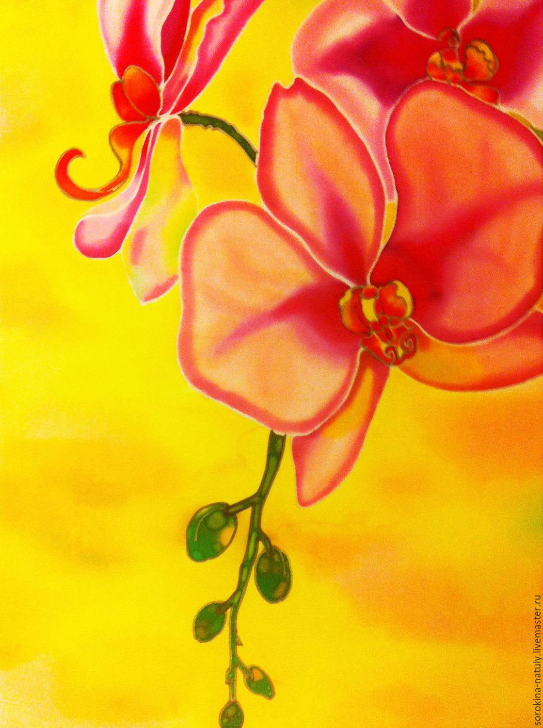 Batik painting the sophistication of orchid 2 shop online on a painting gift batik silk painting pictures of flowers handmade yellow bright yellow yellow pink fair mightylinksfo